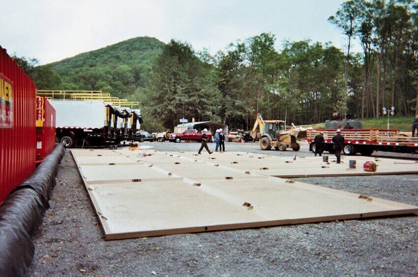 installation of drilling containment pad at drill site