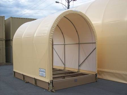 side view of envirohut spill containment system with canopy