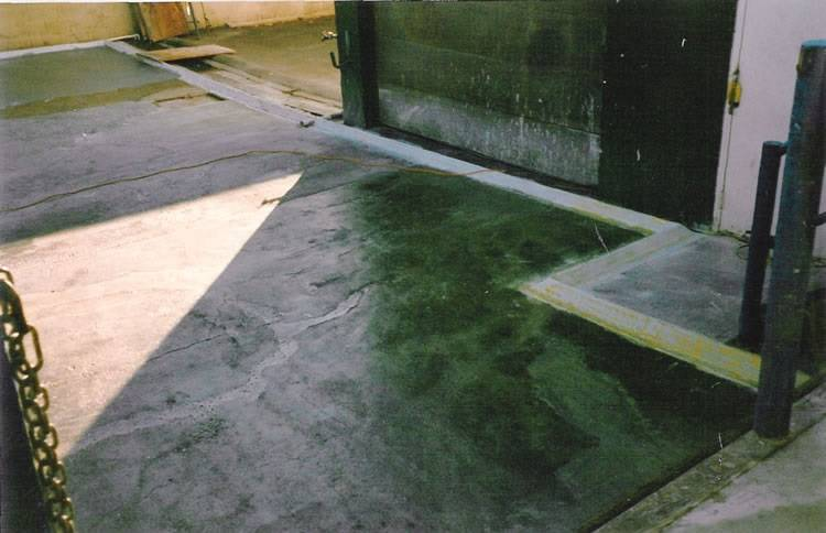 poly curb spill containment system used as an interior perimeter