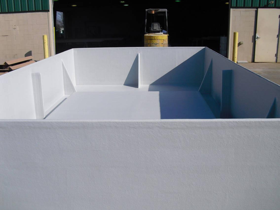 interior of poly tub panels and base