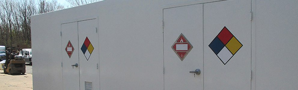 hazardous material symbols on containment building