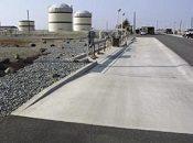 A concrete containment pad