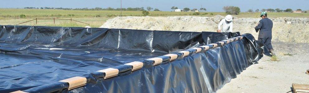 poly dike protective liner installation for secondary fuel spill prevention